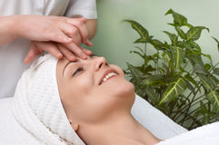 Beauty salon series. facial massage Stock Photo