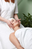 Beauty salon series. facial massage. Pretty woman getting facial massage in the beauty salon Royalty Free Stock Images
