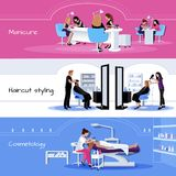 Beauty Salon Service Horizontal Banners Stock Images