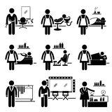 Beauty Salon Services Jobs Occupations Careers. A set of pictograms showing the professions of people in the beauty and fashion industry Stock Photos
