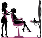 Beauty salon. Silhouette of girl in beauty salon making hairstyle royalty free illustration