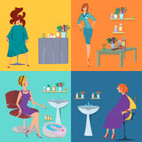 Beauty salon spa customers flat people Royalty Free Stock Images