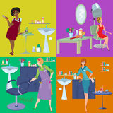 Beauty salon spa customers and workers flat people Royalty Free Stock Photo