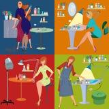Beauty salon spa employees flat people Royalty Free Stock Photo
