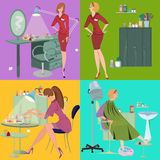 Beauty salon spa employees flat people and furniture Royalty Free Stock Images