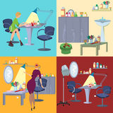 Beauty salon spa flat people and furniture Royalty Free Stock Photo