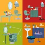 Beauty salon spa furniture flat design Royalty Free Stock Photography