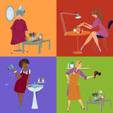 Beauty salon spa team and customers flat people Royalty Free Stock Photos