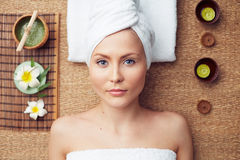Beauty salon. Spa woman in beauty salon royalty free stock image