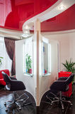 Beauty Salon Stylist Barber Shop. Beauty Salon, arm-chair and mirror Royalty Free Stock Photo