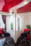 Beauty Salon Stylist Barber Shop. Beauty Salon, arm-chair and mirror royalty free stock photo