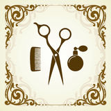Beauty salon symbol with scissor Royalty Free Stock Image
