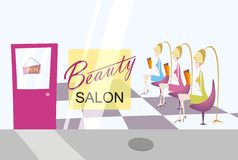 Beauty salon with three ladies Stock Images