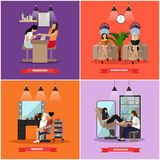 Beauty salon vector concept banners. Haircut, manicure and make up atelier. Women in studio illustration Stock Photo