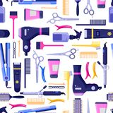 Beauty salon vector seamless pattern. Colorful hair hairdresser tools and equipment. Fashion textile print or background design royalty free illustration