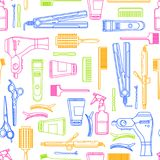 Beauty salon vector seamless pattern. Colorful outline hair hairdresser tools and equipment. Fashion textile print or background design vector illustration