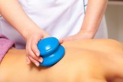 Beauty salon. Woman getting spa cupping glass vacuum massage Stock Photography