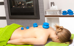 Beauty salon. Woman getting spa cupping glass vacuum massage Stock Images
