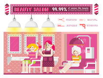 Beauty salon. Woman in a beauty salon illustration vector design element Royalty Free Stock Photography