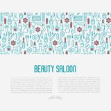 Beauty saloon concept with thin line icons vector illustration