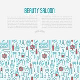 Beauty saloon concept with thin line icons stock illustration