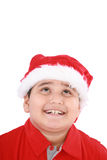 Beauty Santa boy looking up Stock Photo