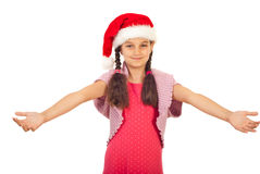 Beauty Santa girl with open arms. Beauty little Santa girl standing with arms open prepared for hug isolated on white background Royalty Free Stock Image