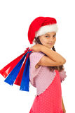 Beauty Santa girl with presents royalty free stock image