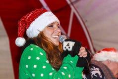 Beauty in santa hat Royalty Free Stock Photography