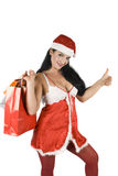 Beauty santa with thumb-up Stock Photo