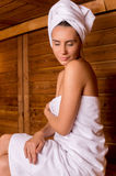 Beauty in sauna. Stock Photo
