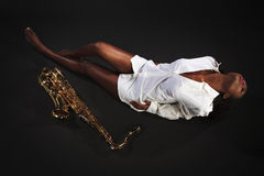 Beauty with Sax Royalty Free Stock Image