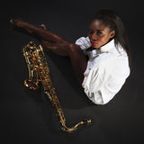Beauty with Sax Stock Photos