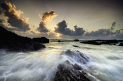 the beauty scenery of terengganu beach with stunning color during sunrise with dramatic clouds Royalty Free Stock Images