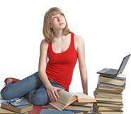 Beauty schoolgirl with book Royalty Free Stock Photos