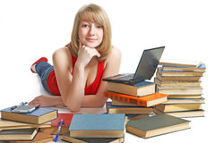 Beauty schoolgirl with book Stock Photo