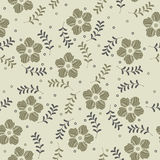 Beauty seamless pattern with decorative spring flowers and plant Royalty Free Stock Images