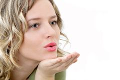 Beauty sends kiss. On hand. Separate on white Stock Photography