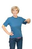 Beauty senior woman in blank t-shirt royalty free stock photo