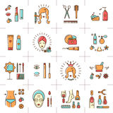 Beauty set line icons art Vector cosmetic spa Beautiful woman Royalty Free Stock Photo