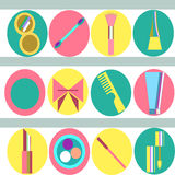 Beauty set 2. Set of beauty and make-up - related objects in colour royalty free illustration