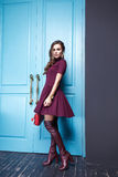 Beauty sexy dress clothing makeup fashion style woman Stock Photos