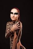 Beauty sexy girl in black tape dress, studio posed Stock Photo