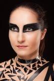 Beauty girl in black tape dress, studio posed. Bdsm stock image