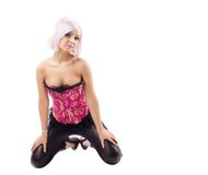 Beauty sexy girl in corset and leather Stock Photos