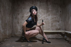 Beauty sexy police woman Royalty Free Stock Images