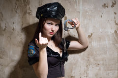 Beauty sexy police woman Stock Photo
