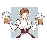 Beauty and sexy vector  German girl holding a draft beer portrai. T, logo or emblem for your Oktoberfest menu Stock Photo