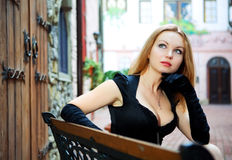 Beauty sexy woman in black dress Royalty Free Stock Image