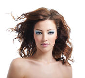 Beauty and sexy woman with blown hairs Royalty Free Stock Images